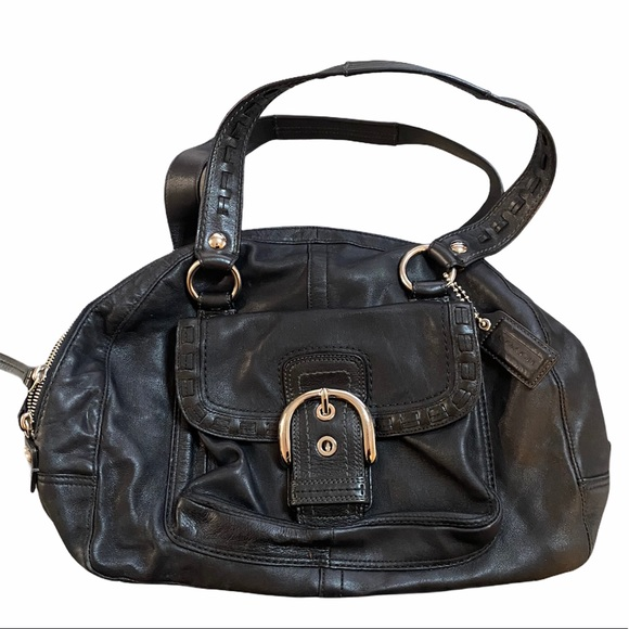 Coach leather purse. Buckle front flap.